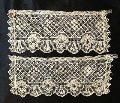 Antique FRENCH Victorian/Edwardian Tambour Net Lace Beige/Ecru Cuffs, LOVELY!