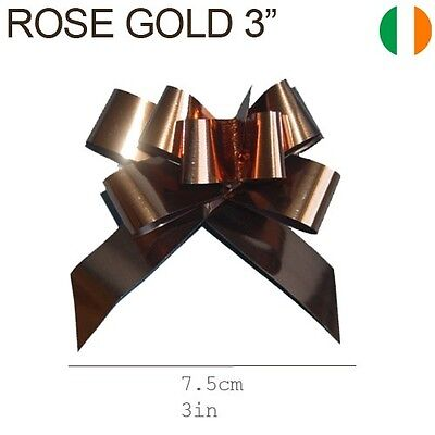 """Rose Gold Copper Pull Bows 3"""" - Small Size-Gift Wrapping Ribbons"""