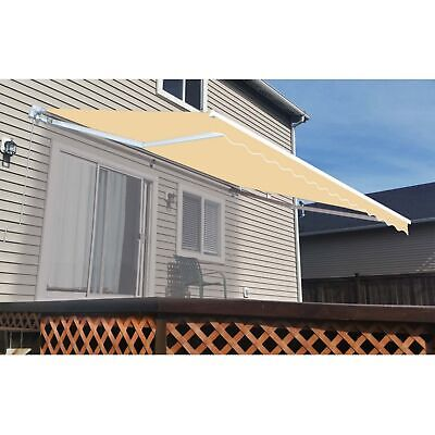 ALEKO Retractable Patio Waterproof Awning 12X10 Ft Deck Sunshade Ivory Color