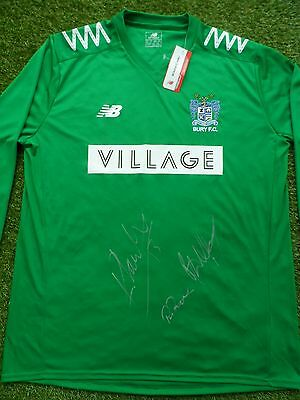 BURY FC Hand Signed Goalkeeper Shirt by 2016/2017 Goalies - Williams, Lainton