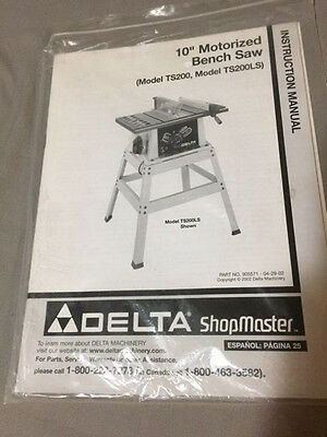 User Manual for Delta TS200 Table Saw