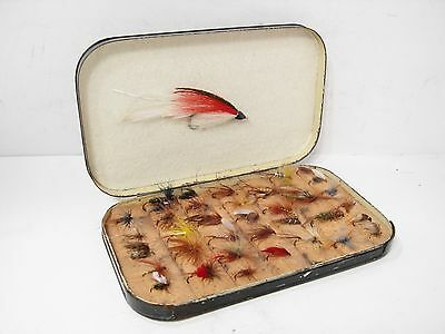 Vintage Antique Japanned Cork Stepped Fly Box & 36 x Trout Flies