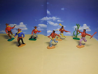 Vintage TIMPO Wild West Cowboys & Indians & Cacti Plastic Toy Soldiers 1:32