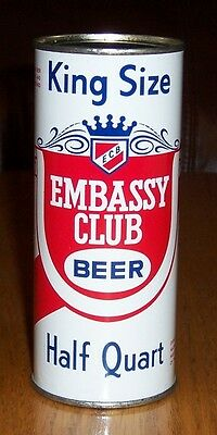*Ultra Rare* 16 oz. Embassy Club Flat Top Beer Can (Chicago)-USBC 229-03-Empty
