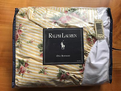 NEW! Ralph Lauren Sophie TWIN BED SKIRT Cottage Floral yellow dust ruffle stripe