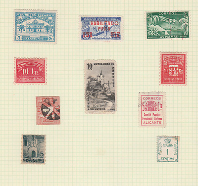 Spain Old Revenues Local Post Cinderellas Mint Used Lot Of 10 Stamps