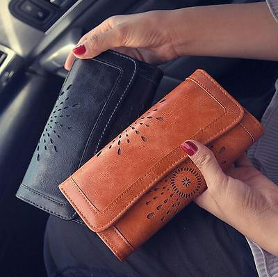 Brown PU Leather Women's Clutch Purse / Wallet with Card Holders