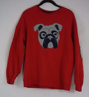 Hanna Andersson Kids Red Bulldog Pullover Sweater Elbow Patch Size 160 US 16-18