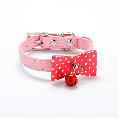 Dog Pet Collar With Bell Cat PU Leather Buckle Dogs Cute Bowknot Collar Size XS