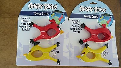 Angry Birds Beach Towel Clips 2 Sets 4 Pcs Red/Yellow
