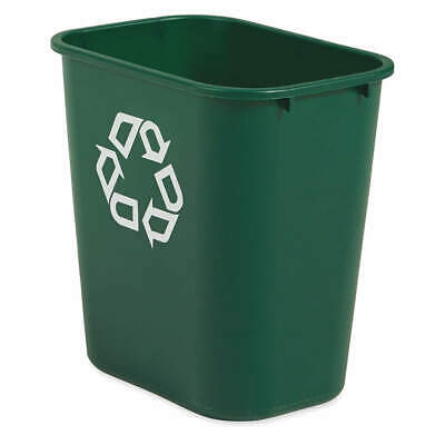 RUBBERMAID Plastic Desk Recycling Container,Green,7 gal., FG295606GRN, Green