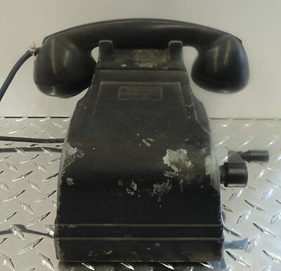FEDERAL ELECTRIC MAGNETO DESK TELEPHONE in black
