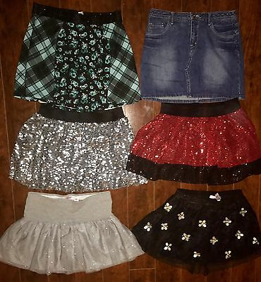 LOT OF GIRLS SKORTS SIZE 16 ALL JUSTICE Black Red Silver Sequins Party Dressy