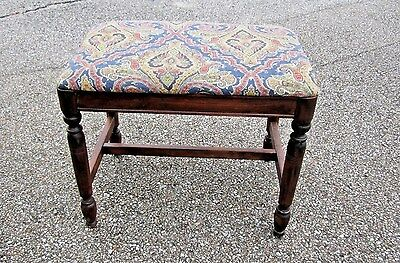 Antique Regency Style Walnut Wood Piano Stool Vanity Bench