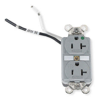 HUBBELL WIRING Thermoplastic Receptacle,Duplex,20A,5-20R,125V,Gray, HBL8300SGGYA