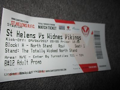 St HELENS v WIDNES 9th June 2017 UNUSED TICKET
