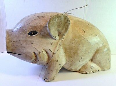 Vintage PIGLET FIGURINE HAND CARVED WOOD Life Size Little Piggy Foreside Design