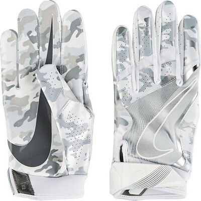 "Nike Adult Football Gloves""Vapor Jet 4.0 Receiver Gloves"",White& Silver Camo,S"