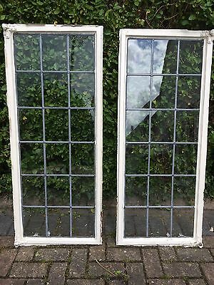 Pair Of Metal Leaded Glass Windows