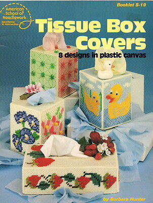 Plastic Canvas Pattern Book Tissue Box Covers/Baby Duck/Flowers/Strawberries +