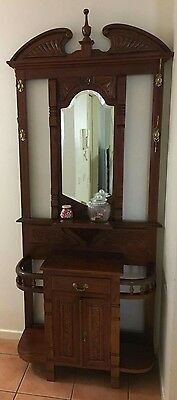 TIMBER HALLWAY STAND with Mirror, drawer, hooks