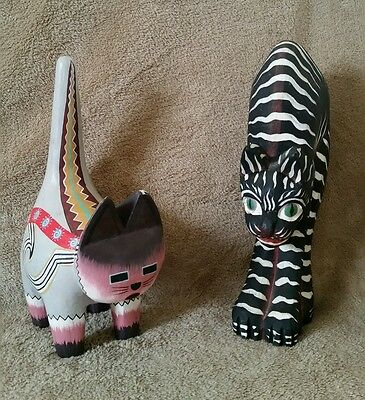 Lot 2 - Vintage Hand Painted Folk Art Carved Cat Cats Wood Decor