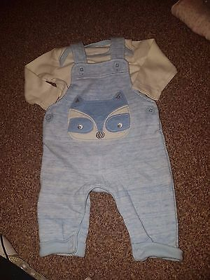 boys newborn to 1 month dungaree outfit and cardigan 0-1 mth