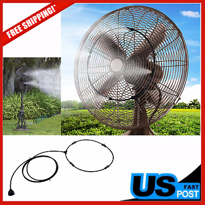 Water Misting Fan Kit Cooling System Portable Garden Hose Connector Wall Mount