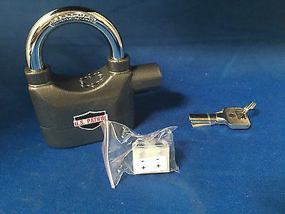 US Patrol Heavy Duty Siren Padlock Sounds a 110 db Alarm When Tampered