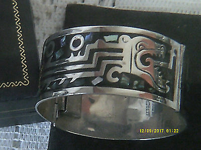 Vintage Dragons Mother Of Pearl, Enamel And Alpaca Large Bangle,mexican