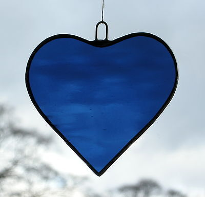 Stained Glass Hanging Ornament (Love Heart) Navy Blue in rippling water glass