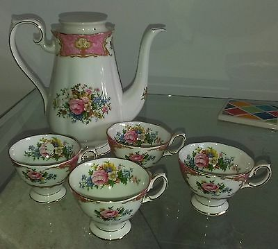 Vintage 4 X Royal Albert Lady Carlyle Coffee Cups & Damaged Coffee Pot