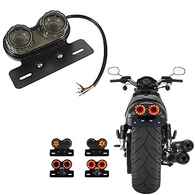 Ronben Motorcycle LED Twin Dual Tail Turn Signal Brake License Plate Integrated