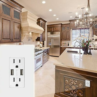 2.1A  US Plug Adapter Switch Socket Power Outlet Dual USB Port Wall Charger