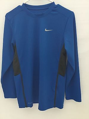 Nike Boy's Dri Fit Athletic Long Sleeve Blue/Black Size L(14-16) PRE-OWNED