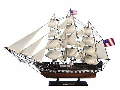 "USS Constitution Old Ironsides Tall Ship 24"" Built Wooden Model Boat Assembled"