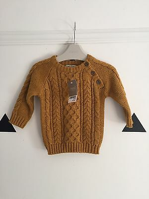 Next Baby Boy Mustard Cable Knit Jumper BNWT 3-6months