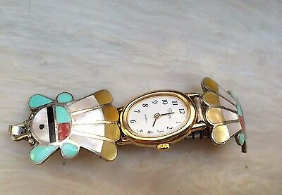 Vintage Native American Sterling Silver Ladies Timex Watch inlay Zuni face