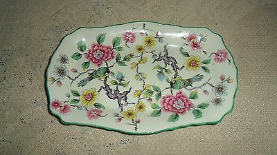 "James Kent Chinese Rose 7 3/4"" Mini Creamer And Sugar Tray Old Foley Birds"