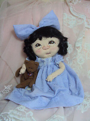 """Ooak Original Needle Soft Sculpted Baby Girl Cloth Doll Amelie 12"""""""