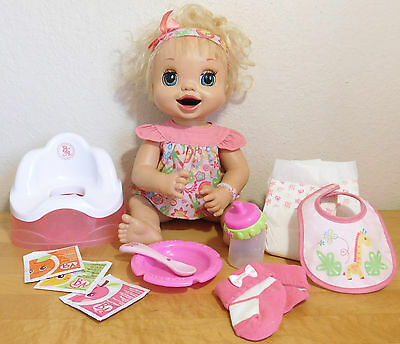 2007 Learn to Potty Baby Alive Doll + Potty Chair + Magnetic Bottle Spoon Lot