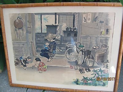 A Vintage/antique Chinese Water Color Painting Woman Breast Feeding Kids Playing