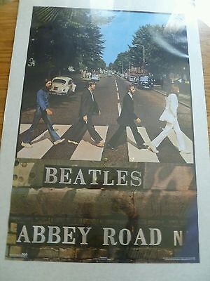 "Vintage   The Beatles Abbey Road POSTER 22 &3/4"" W- & 34 &1/2""T"