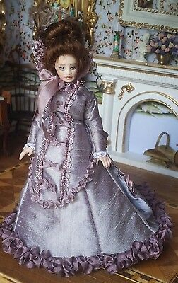 Dollhouse Miniature Artisan All Porcelain Doll Jointed w Satin Gown 1:12