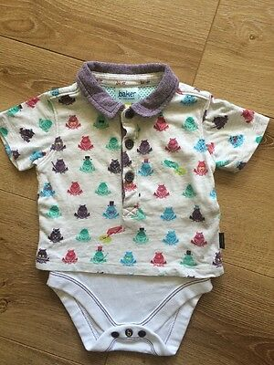 Ted Baker Boys Polo T-shirt Top Bodysuit Size 0-3 Months 100% Cotton