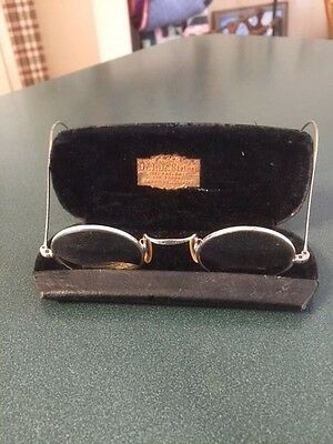 Antique 1/10 12K White Gold Wire Rim Glasses with Case Very Ornate