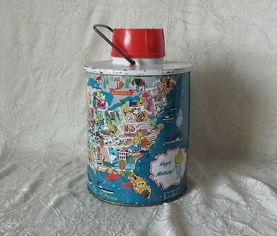 Vintage ESSO 1950s Happy Motoring USA Map Skotch Cooler Thermos Complete