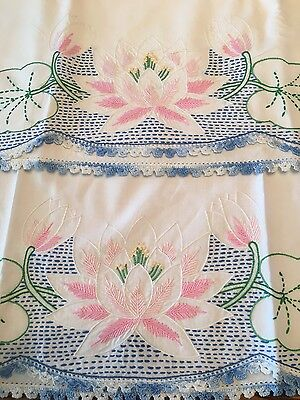 Vintage Hand Embroidered Pink Lily pad Pillowcase Set With Crocheted Edge