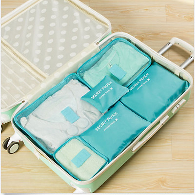 6Pcs Clothes Packing  Luggage Organizer Pouch Waterproof Travel Storage Bag Blue