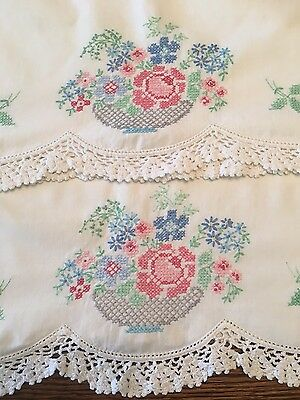 """Vintage Hand Embroidered """"Bowl Of Flowers"""" Pillowcase Set With Crocheted Edge"""